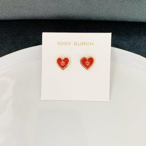 Tory Burch logo red heart earrings